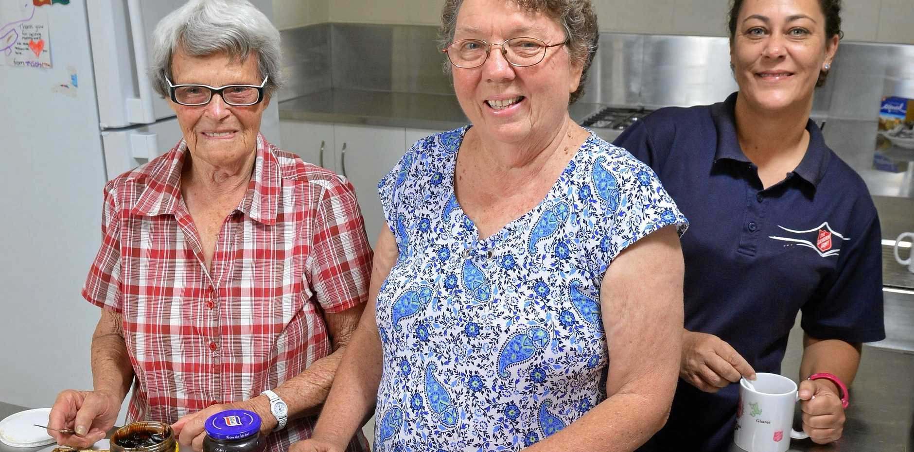 COMMUNITY SPIRIT: Dot Brown, Ruth Alback and Jacqui Stringer at the Red Cafe in Ipswich.
