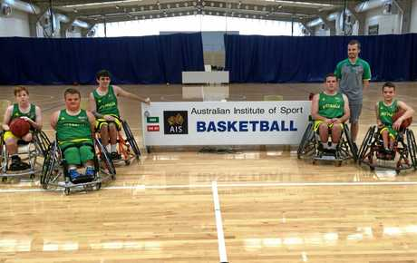 Brayden Foxley-Connolly (left) and Cooper Whitestyles (second from left) of Mackay, at the Athlete Development Camp at the AIS for the 2021 under-23 wheelchair basketball World Championships.