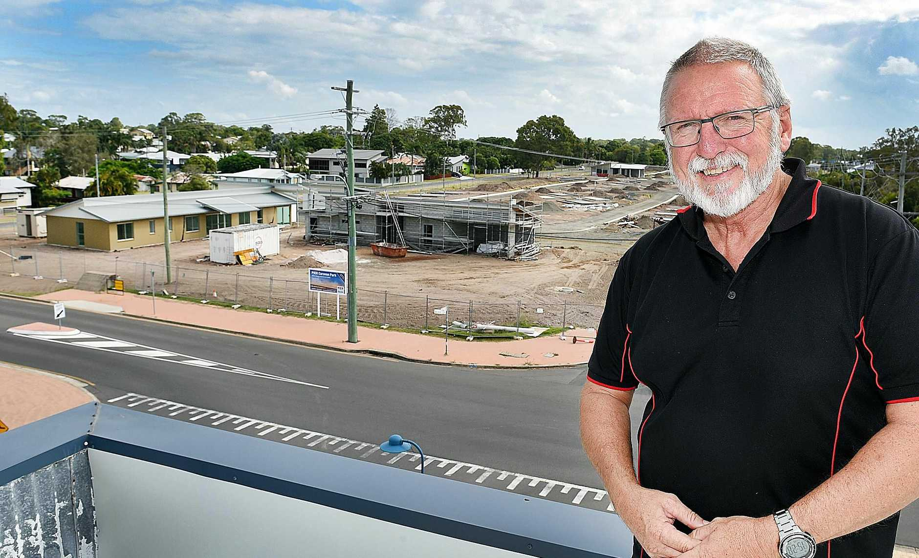 Ed Gibson - CEO at The Boat Club with a birdseye view of the new caravan park being built at Urangan across the road from The Sporties Club.