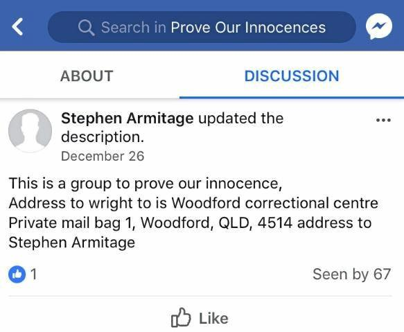 The 'Prove our Innocences' Facebook page, administrated by 'Stephen Armitage'