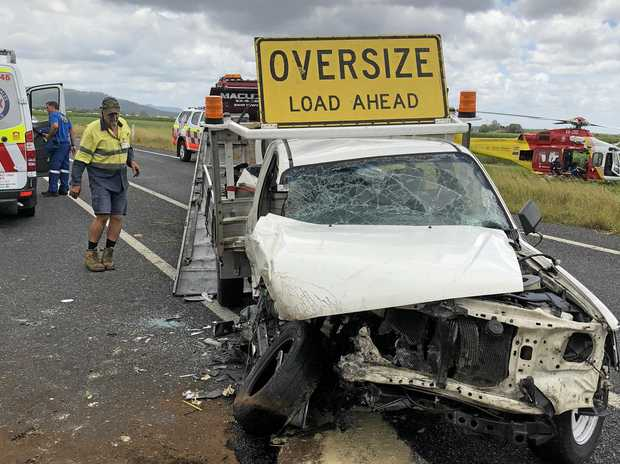 The white Toyota Hilux involved in the crash on the Pacific Highway on Sunday.