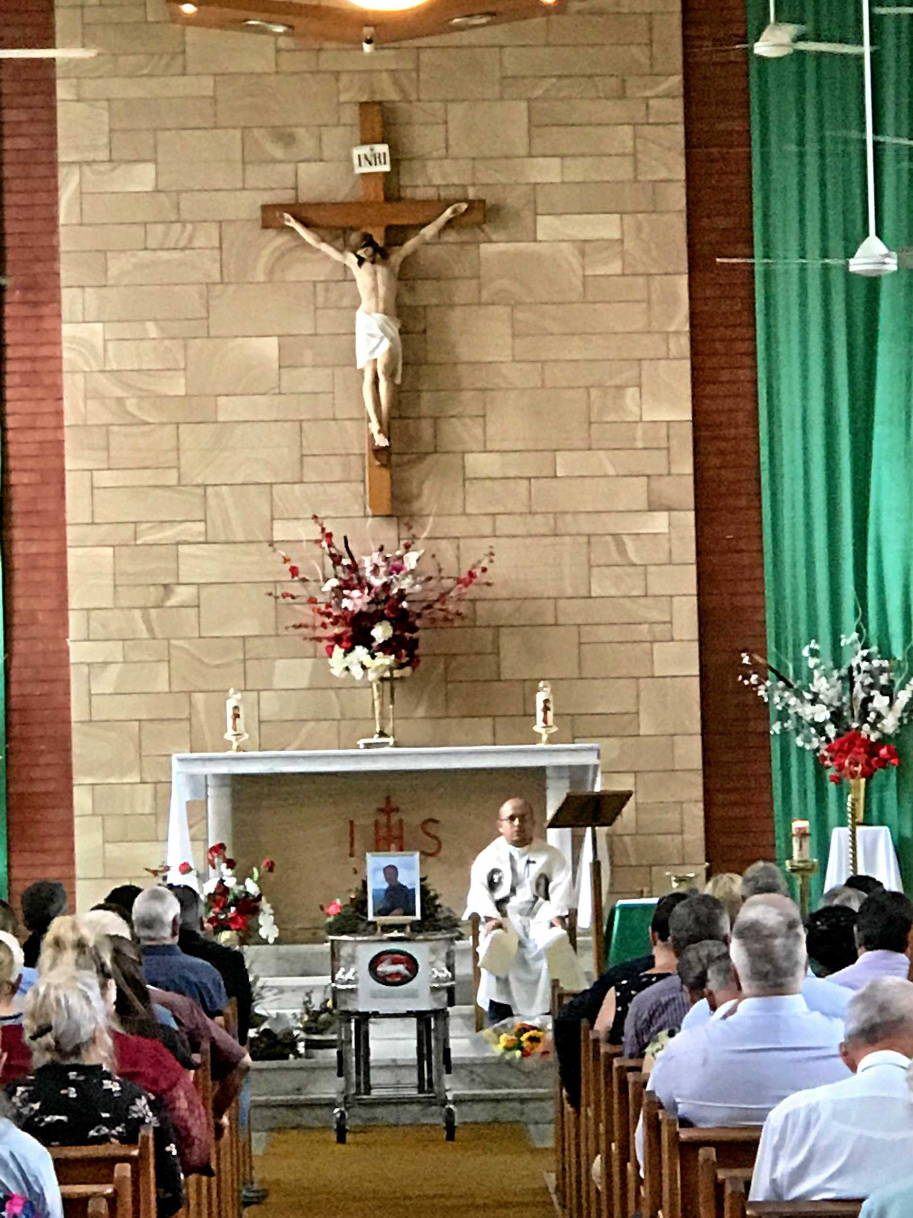 Funeral for Malcolm Wallis at Our Lady of Sorrows Catholic Church in Kyogle.