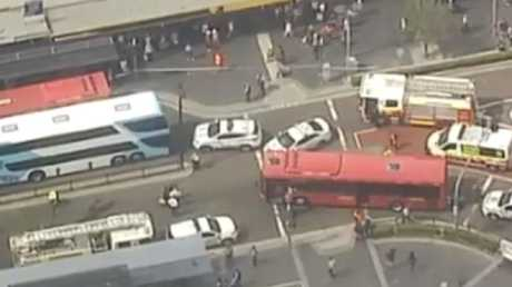 The bus interchange has been closed. Picture: Seven News