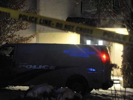 A Forensic Identification Services van pictured outside the Sherman's Toronto mansion after their bodies were found next to an indoor pool in the basement of their Toronto mansion. Picture: Supplied.