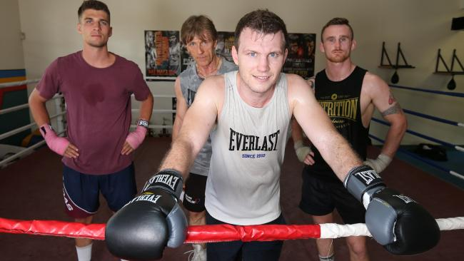 Jeff Horn with Nathan Weber, Glenn Rushton and Dennis Hogan. (Annette Dew)