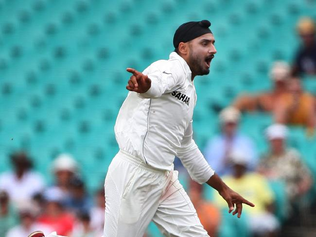 Harbhajan Singh celebrates dismissing Ricky Ponting at the SCG, 2008.
