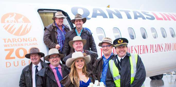 Launching the It's A Bloke Thing luncheon for Darwin is (back row from left) John Wagner and Mark Crampton, (middle from left) Graeme Higgs, David Russell, John Fitzgibbons, Gary Gardner, (front row from left) Sasha Hubbard and QantasLink captain Trevor McGuire.