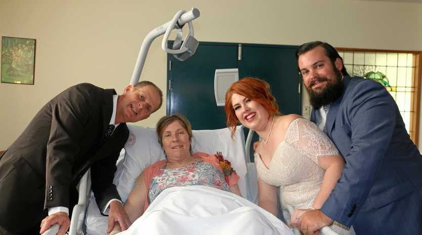 WEDDING WISH: Dale and Trish Rieck with daughter Libby and her husband Andy Wright, who married in the Ipswich Hospital chapel to ensure palliative care patient Trish could make it to the ceremony.