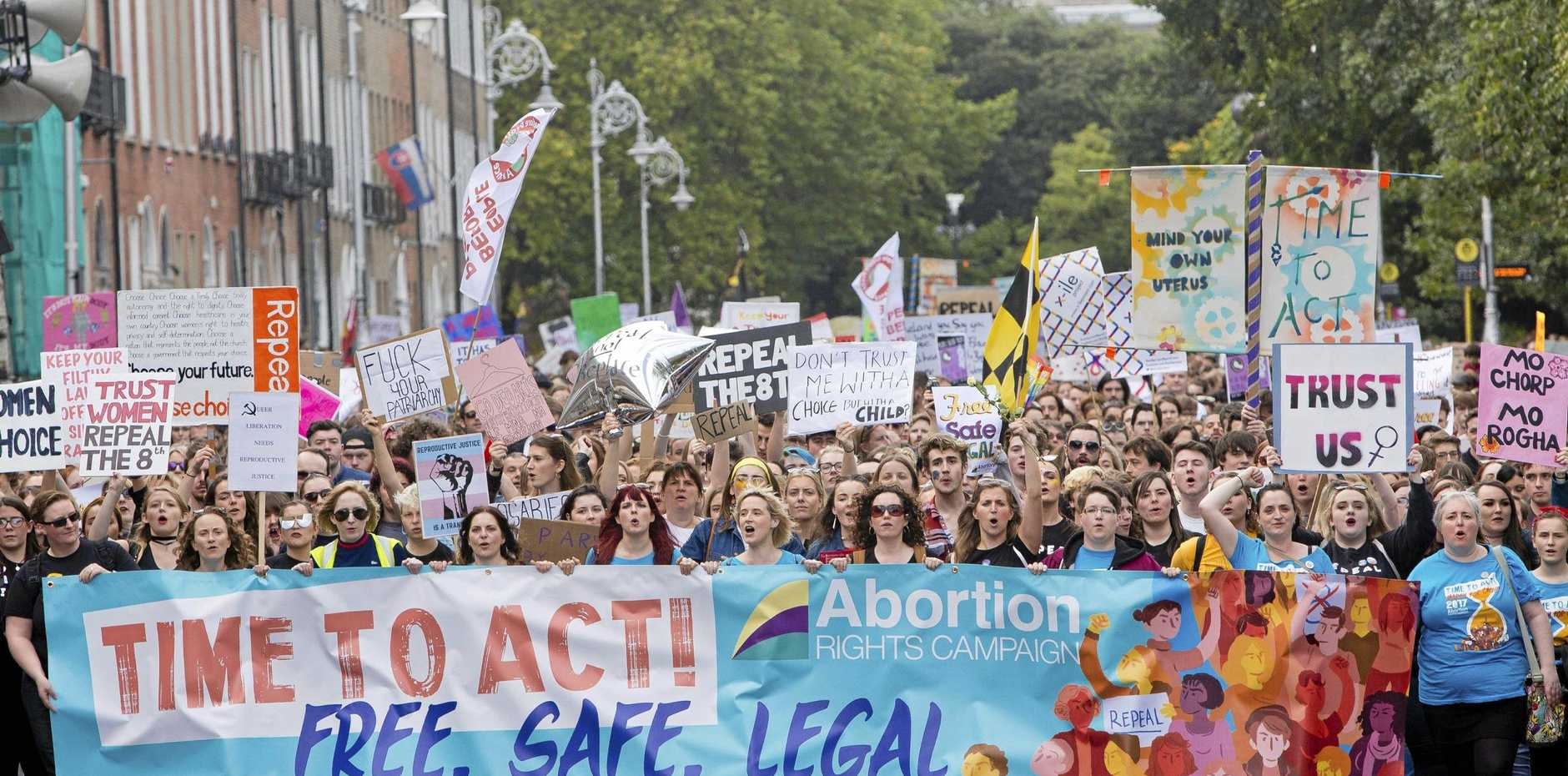 Demonstrators participate at The March for Choice event in Dublin, calling for a change to Ireland's strict abortion laws, in September last year.