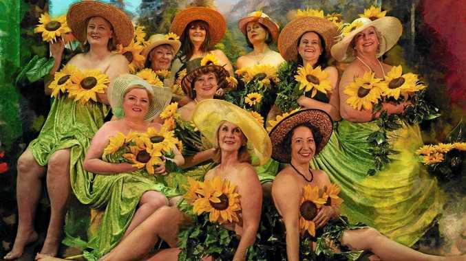 The cast rehearsing for Calendars Girls.