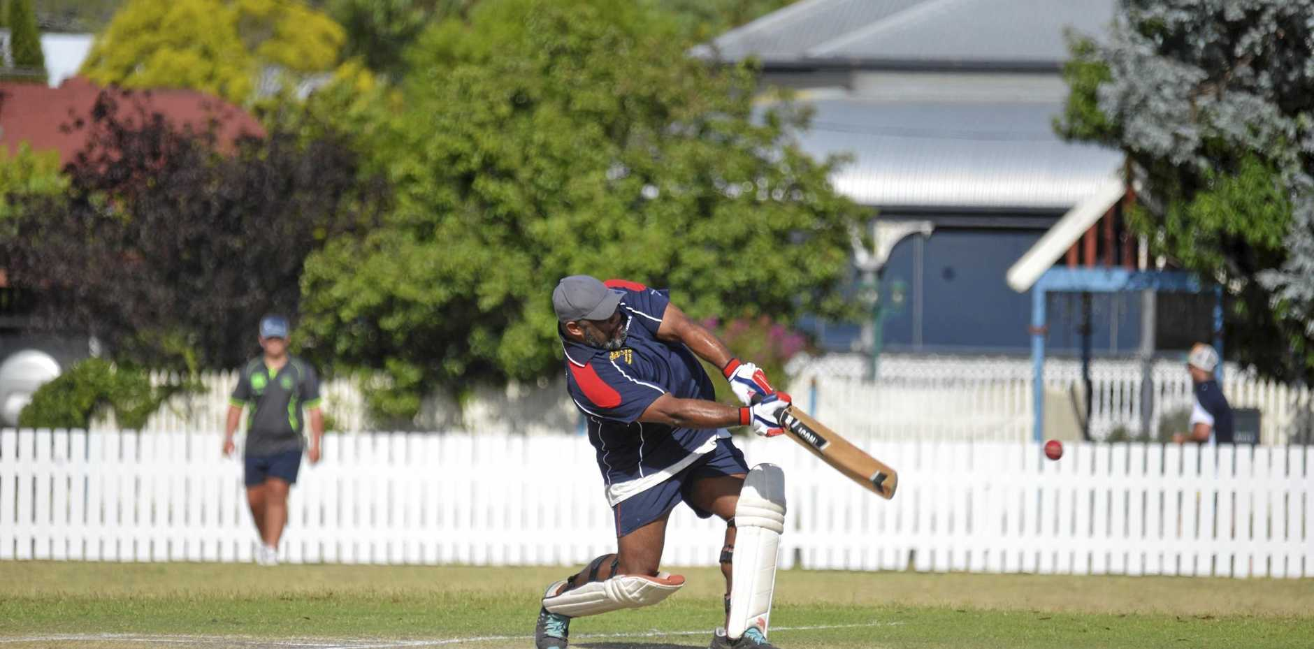 Shane Hooper hits hard for Marbuck's XI in a 50 not out in a competitive grand final in the Australia Day Cricket Carnival.