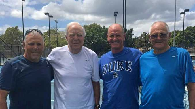 REUNITED: Michael Beckman, Fred Stolle, and Phil and Eric Beckman at   Grafton City Tennis Club.