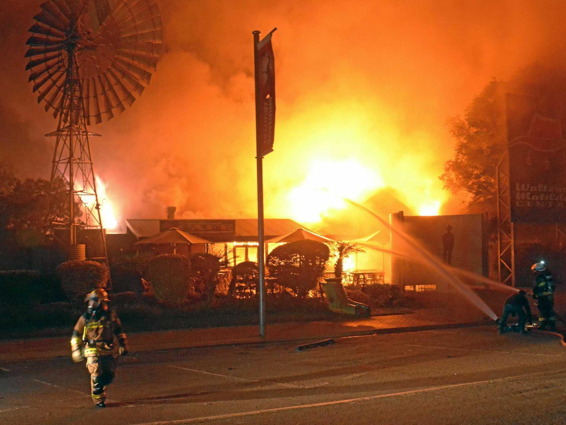 DEVASTATING BLAZE: The Waltzing Matilda Centre in Winton was destroyed in 2015. The centre will re-open in April after a $22m reconstruction.