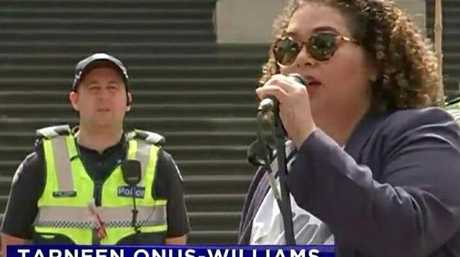 Tarneen Onus-Williams, organiser with Warriors of the Aboriginal Resistance (WAR), at an Invasion Day rally in Melbourne said