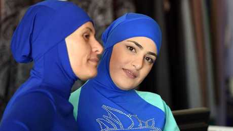 Muslim models displaying burkini swimsuits in western Sydney. Picture: AFP/ Saeed Khan