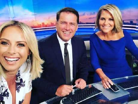Karl Stefanovic and Sylvia Jeffreys with Georgie Gardner on the set of Today. Picture: Instagram