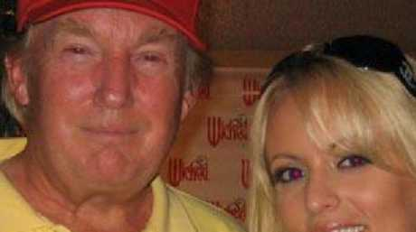 Donald Trump with Stephanie Clifford, whose stage name is Stormy Daniels, in a 2006 photo uploaded to her Myspace.com account. Picture: MySpace