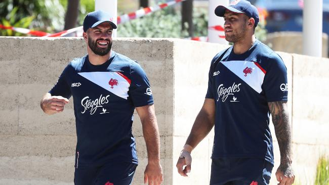 Roosters signing James Tedesco with Blake Ferguson. Picture: Brett Costello