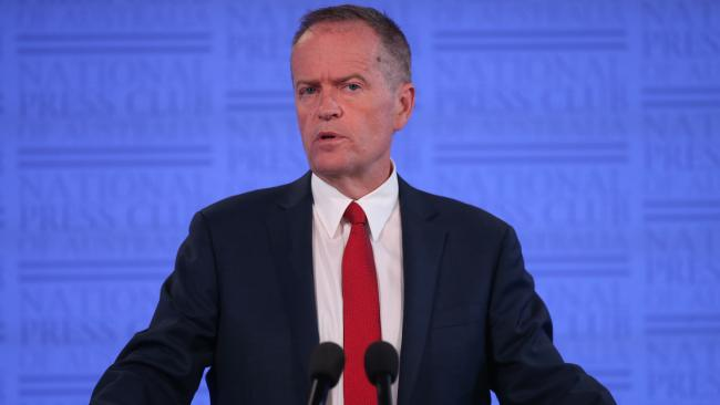 Opposition Leader Bill Shorten backed the creation of a National Integrity Commission in a speech to the National Press Club. Picture: Kym Smith