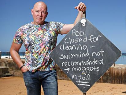 Colin Weir out the front of maggot-infested Bilgola ocean pool. Picture: Adam Yip / Manly Daily