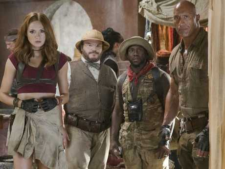 Karen Gillan, Jack Black, Kevin Hart and Dwayne Johnson in a scene from the film.