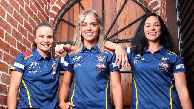 Emily Bates, Kaitlyn Ashmore, and Leah Kaslar, Brisbane Lions AFLW launch, Coorparoo. Photographer: Liam Kidston.
