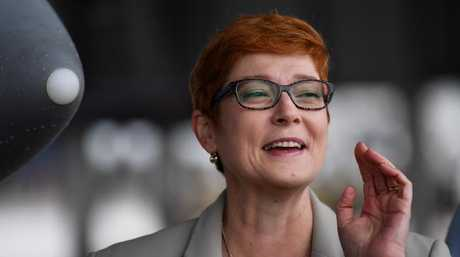 Australian Minister for Defence Marise Payne welcomes the arrivals of the Growlers to the Royal Australian Air Force, Amberley in July last year. Picture: AAP