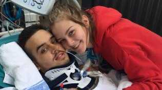 Frankie Kuzba, aged 19, and his then girlfriend Casey Christensen, after the shock injuries. Picture: Supplied