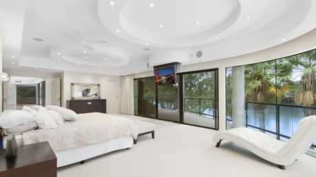 One of the seven bedrooms in Peter Bond's Brisbane mansion.