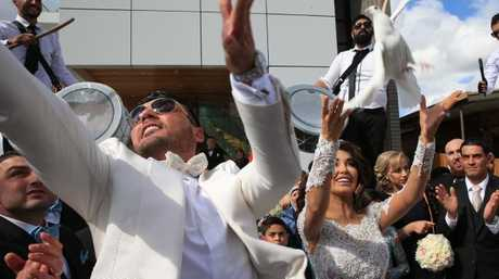 Mehajer and estranged wife Aysha at their 2015 wedding with helicopters, luxury cars, motorbikes and a jet flyover. Picture: Toby Zerna