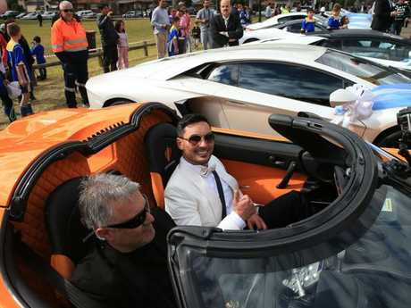 The former deputy Auburn mayor at his lavish wedding in Lidcombe, which involved four helicopters, more than 30 super cars, 50 motorbikes, a jet flyover and 100m of red carpet. Picture: Toby Zerna