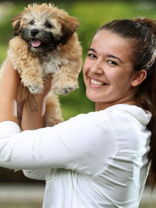 Bianca Szmetana, 20, Woolloongabba with Maxie. Picture: Liam Kidston.
