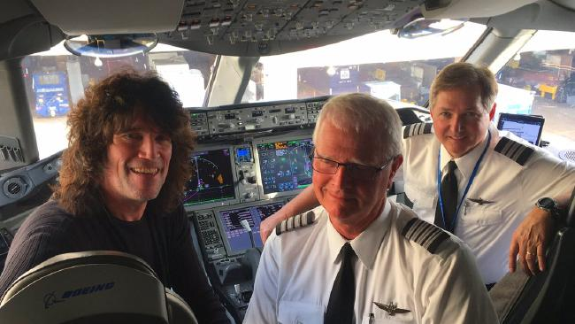 Kiss guitarist Tommy Thayer with the now retired pilot Jeff Rowland. Picture: Tommy Thayer