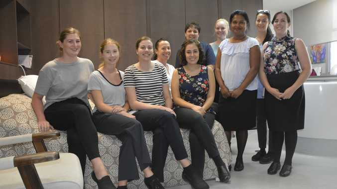NEW MIDWIVES: Ready to start work are (front, from left) Bonnie Amos, Elizabeth Bazzana, Laura Hickey, Rebecca Gonzalez, Kavitha Reddy, Elyse Cardiff, (back, from left) Emma Holm, Kate Ruhle, Kendal Enright and Dayna Eickenloff.