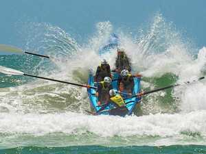 Surf boats brave waves for win