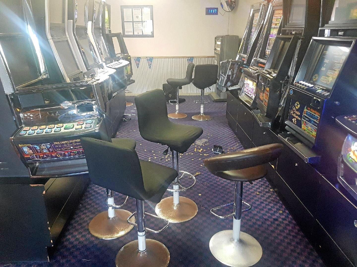 Eight pokie machines were damaged in a break-in at the Moranbah Miners League Club on Saturday