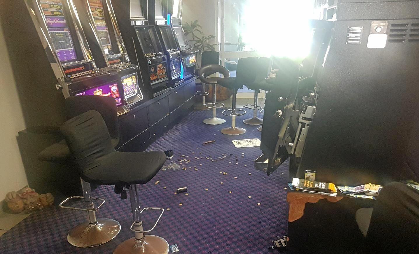 Eight pokie machines were damaged in the break-in.