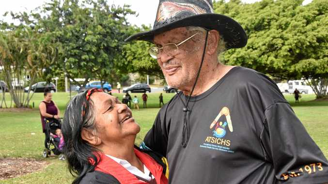 GONE BUT NOT FORGOTTEN: Gary Cowburn, with his wife Joy, who passed away last year, at the 2017 NAIDOC march.