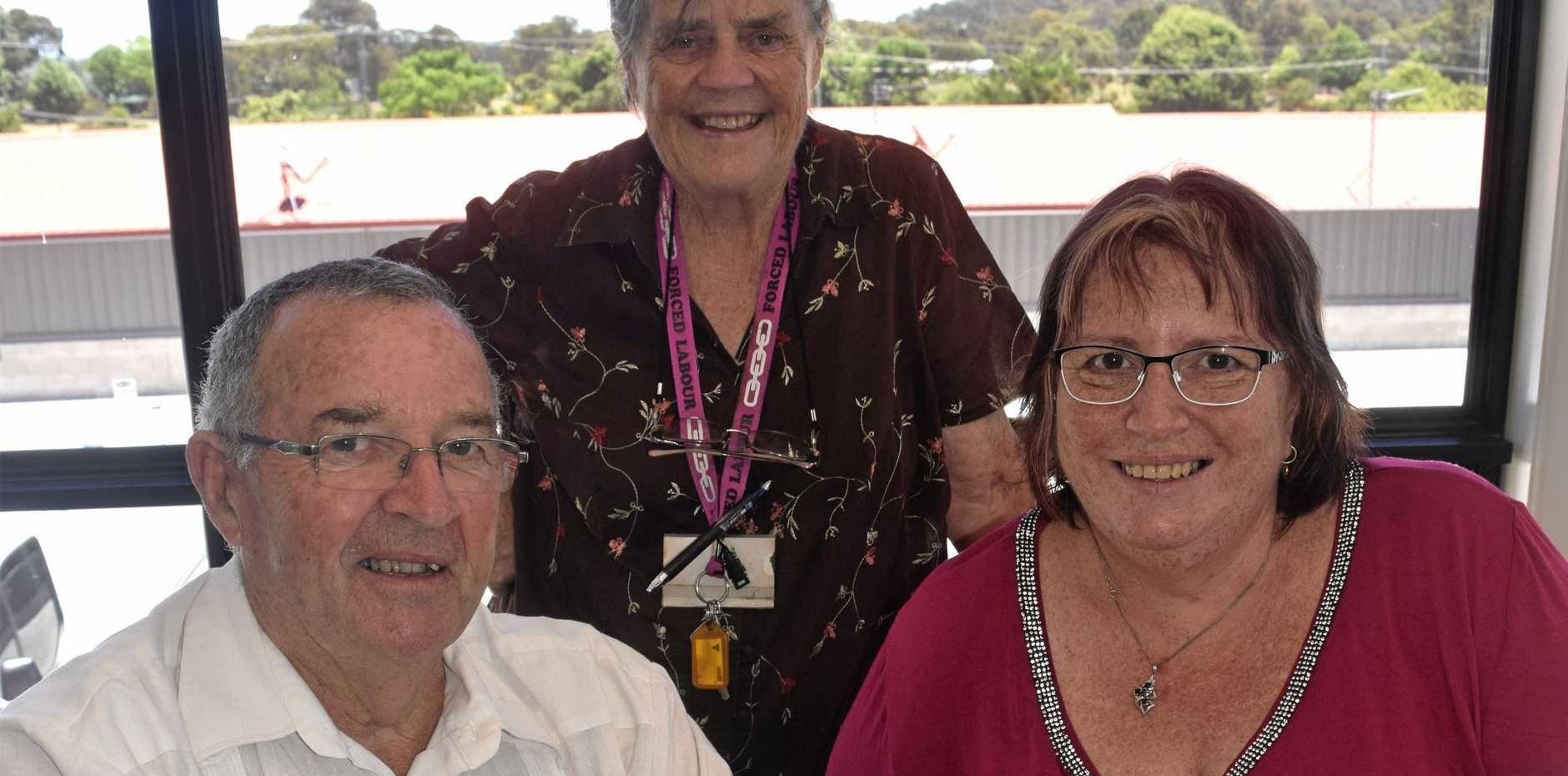 MEET UP: Juliane Jones, Mark Conway and Carol Clark.