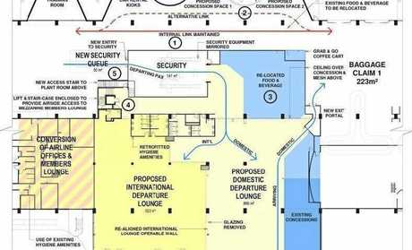 A proposed design for the redeveloped Rockhampton Airport terminal to accommodate for passenger demands, from the 20-year master plan.