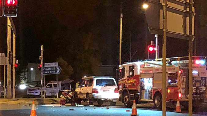 SERIOUS INJURIES: The scene of the crash on James St on Tuesday night.