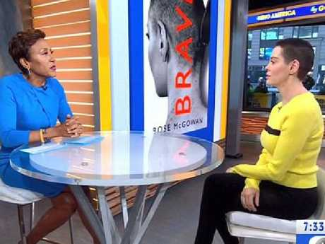 Rose McGowan talks to Good Morning America's Robin Roberts. Picture: ABC