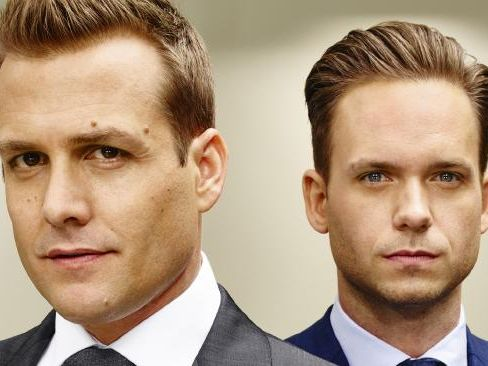 Gabriel Macht as Harvey Specter and Patrick J Adams as Michael Ross in Suits. Picture: Nigel Parry/USA Network