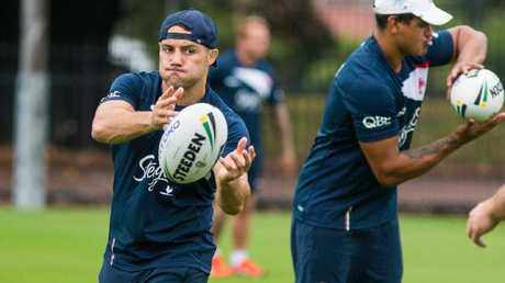 Cooper Cronk hones his game at Roosters training. (Roosters Digital)