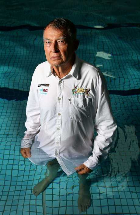 Legendary swimming coach Laurie Lawrence joins the campaign to get kids in to swimming lessons. Picture: Adam Head