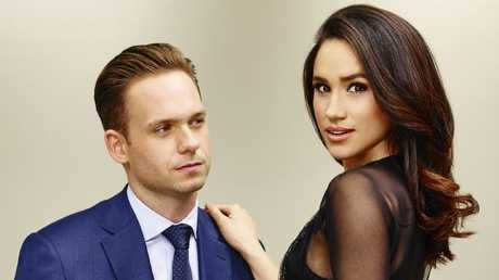 Suits star Meghan Markle with Patrick J Adams. Picture: Supplied/NBCUniversal.