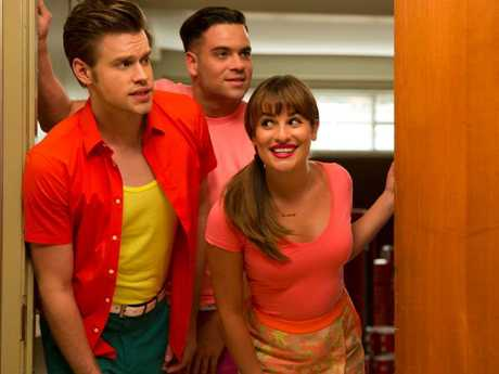 Salling (centre) on Glee. Picture: Channel Ten