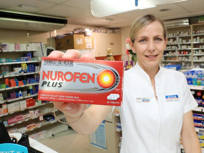 Local pharmacist Kathy Treacy displays a codeine product that is now no longer  available in Australia. Picture Justin Brierty.
