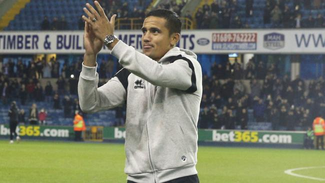 Tim Cahill acknowledges the crowd prior to Millwall's clash against Derby County.