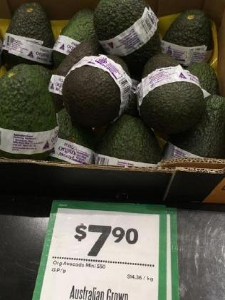 Avocadoes selling for almost $8 each at Woolworths at Gasworks.